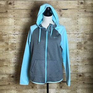 NIKE THRMA-FIT ZIP UP HOODIE TEAL & GRAY SIZE MED